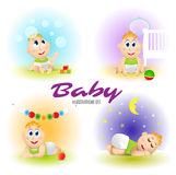 Baby set illustrations. Set of funny babies. Day and night. Cartoon Vector  illustrations. Royalty Free Stock Photography