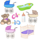 Baby set. Set of 9 baby, newborn  theme objects isolated on white. Vector illustration Stock Image