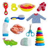 Baby set. Set of baby toys and accessories Stock Photos