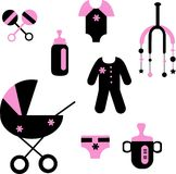 Baby set of toys and clothing Royalty Free Stock Photo
