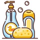 Baby shampoo LineColor illustration royalty free illustration