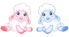 Baby sheep. Illustration of two pink and blue Baby sheep Royalty Free Stock Images