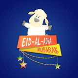 Baby Sheep for Eid-Al-Adha Celebration. Muslim Community, Festival of Sacrifice, Eid-Al-Adha Mubarak with illustration of cute Baby Sheep and glossy banners on Stock Image