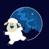 Baby Sheep for Eid-Al-Adha Mubarak. Funny Baby Sheep dancing in front of Mosque, Vector frame with Desert night background for Muslim Community, Festival of Stock Photo