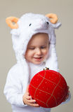 Baby in sheep hat New Year 2015 Royalty Free Stock Image
