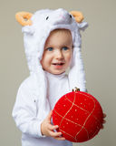 Baby in sheep hat New Year 2015 Stock Image