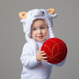 Baby in sheep hat New Year 2015 stock photos