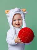 Baby in sheep hat New Year 2015 Royalty Free Stock Photos