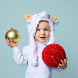 Baby in sheep hat New Year 2015 Royalty Free Stock Photography