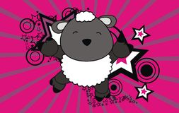 Baby sheep jumping cartoon background Royalty Free Stock Photo