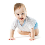 Baby in a shirt crawling and laughing Royalty Free Stock Photography