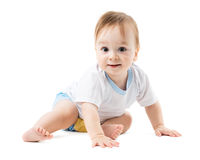 Baby in a shirt creeps Royalty Free Stock Images