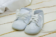 Baby shoes. Baby boy shoes for Christening royalty free stock images