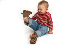 Baby and shoes Royalty Free Stock Images