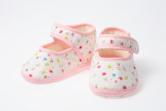 Baby shoes. Pink baby shoes for first daughter Royalty Free Stock Image