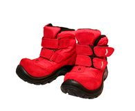 Baby shoes. Red children's winter warm boots Royalty Free Stock Image