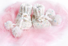 Baby shoes. Bithday still life Royalty Free Stock Photography