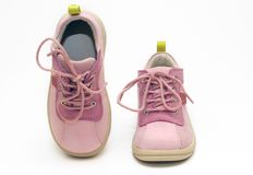 Baby Shoes. Pink Baby Shoes on white background stock photo