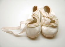 Baby Shoes. Antique baby shoes for a girl stock images