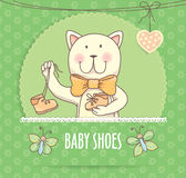 Baby shoes banner with cat.  Royalty Free Stock Images