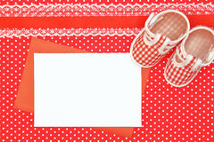 Baby shoes and blank card Stock Photos