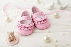 Baby shoes. Close-up of baby shoes royalty free stock photo