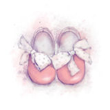 Baby shoes with dot bow for a girl. Baby watercolor pink shoes with dotted bow for a girl Stock Photos