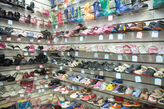 Baby shoes at fashionable shop Royalty Free Stock Photo