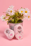 Baby shoes and Flowers Royalty Free Stock Photo