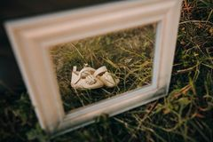 Baby shoes in frame for photo. In sunset stock photos