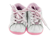 Baby shoes front view Royalty Free Stock Images