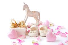 Baby shoes and gift. Gift box and baby shoes. baby shower concept Stock Photo