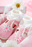 Baby shoes for girl in gift box Stock Images