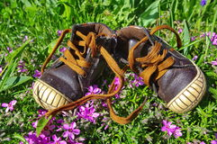 Baby shoes in the grass stock images