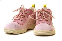 Baby Shoes II. Pink baby shoes on whiye background stock images