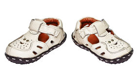 Baby shoes made ��of genuine leather Stock Photos