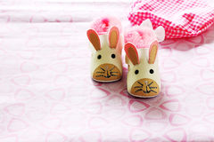 Baby shoes. A pair of baby shoes patterned mice Stock Images