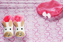 Baby shoes. A pair of baby shoes patterned mice Royalty Free Stock Image