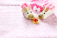 Baby shoes. A pair of baby shoes patterned mice Stock Photography