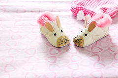 Baby shoes. A pair of baby shoes patterned mice Royalty Free Stock Photos