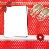 Baby shoes and paper cards Royalty Free Stock Photos