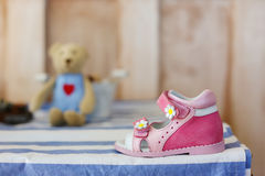 Baby Shoes. Pink baby shoes Stock Images