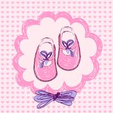 Baby shoes. Pink baby shoes in frame Royalty Free Stock Photos