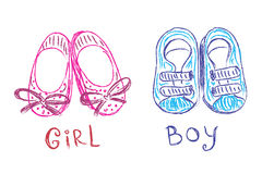 Baby shoes, sketch, doodle, hand drawn, vector illustration Royalty Free Stock Photo