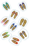 Baby shoes sticker. Labels vector. Stock Images