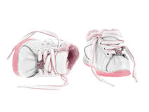 Baby shoes untied Royalty Free Stock Image