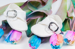 Baby shoes and unusual multi colored tulips Royalty Free Stock Images