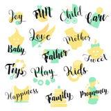 Baby-Shop Hand gezeichneter Logo Set Kindheits-Zubehör lizenzfreie abbildung