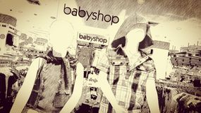 Baby shop. Sepia, warm, pencil color Stock Photo