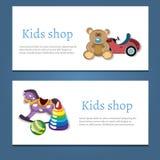 Baby shoppar banret för logo två Fotografering för Bildbyråer